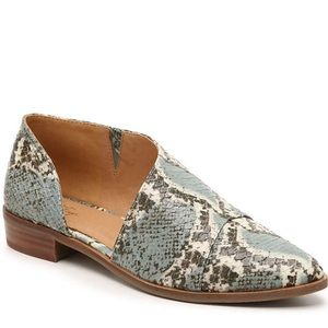 Teal/Taupe Snake Print Faux Leather bootie 9 M
